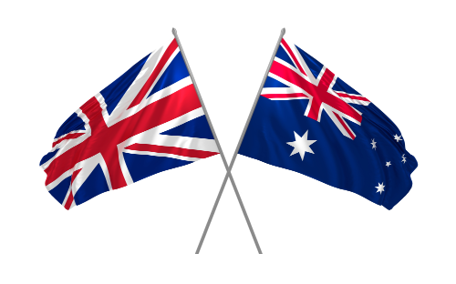 Aus and Eng Flages